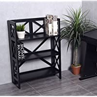 K&A Company Folding Bookshelf Bookcase Tier Wood Shelf Book Storage Home Furniture Stackable New Office Shelves 3-Tier
