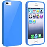 eForCity TPU Rubber Skin Case Compatible with Apple® iPhone® 5 / 5S, Blue Jelly