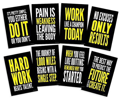Motivational Posters for Gym; Success Quote Wall Art Inspired by Crossfit and Gym Exercise Workout for Weight Loss Cardio 12x18 Inch Size, Set of 8 Unframed (Lifting Motivation)