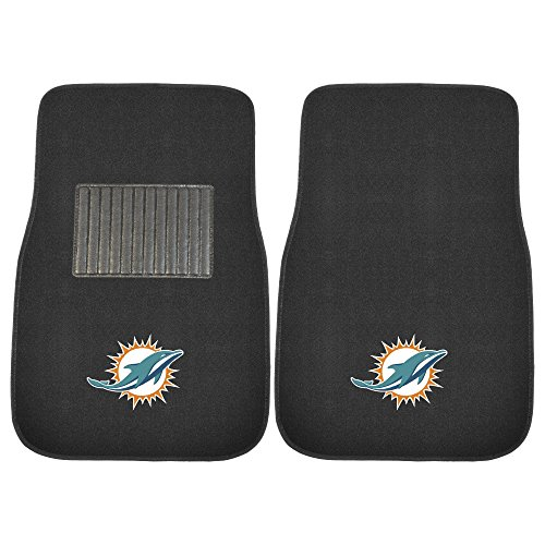 Fanmats 10755 NFL Miami Dolphins 2-Piece Embroidered Car Mat (Miami Dolphins Floor Mat)