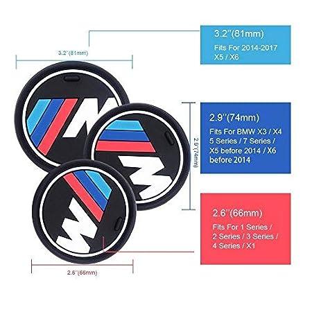 74mm 2.9 Dia.(X3 //X4 //5//7 Series) 2.9 S-WEKA 2PCS M Line Car Interior Accessories Anti Slip Cup Mat for BMW 1 3 5 7 Series F30 F35 320li 316i X1 X3 X4 X5 X6