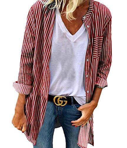 06c41069c0cb4 Anchos Camisa Otoño Blusas Moda Señoras Cuello Ropa Flecos Manga Shirt Tops  Elegantes Casual Rojo Primavera Vintage Camisas Mujer Redondo Larga BB7qg4