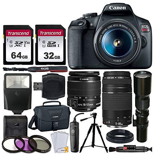 Canon EOS Rebel T7 DSLR Camera + EF-S 18-55mm f/3.5-5.6 is II + EF 75-300mm f/4-5.6 III Lens + Telephoto 500mm f/8.0 T- Mount Lens (Long) + 64GB & 32GB Memory Card + Canon EOS Bag + Slave Flash + More