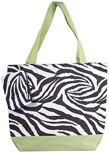 Ever Moda Zebra Tote Bag (Green)