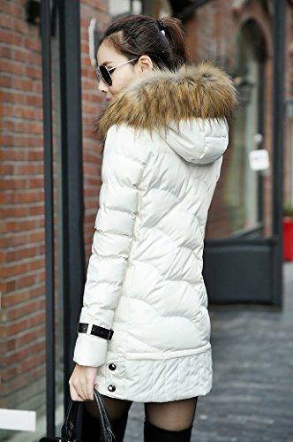 TOOGOO(R)Damen Daunenjacke langer Mantel mit Kapuze Winter Pelz-Kragen warme Oberbekleidung Weiss M