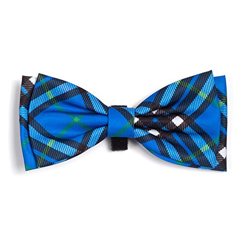 Dog Bowtie - Bias Plaid Blue Bow Tie by Worthy Dog (Small 4x2 inches) ()