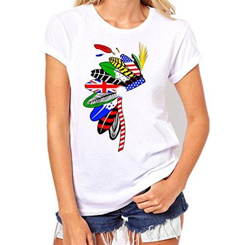 (Tshirt,ZYooh Women Girl Feather Printed Native American Indian Tribe Headdress Round NeckT-Shirt (XXXL, White))