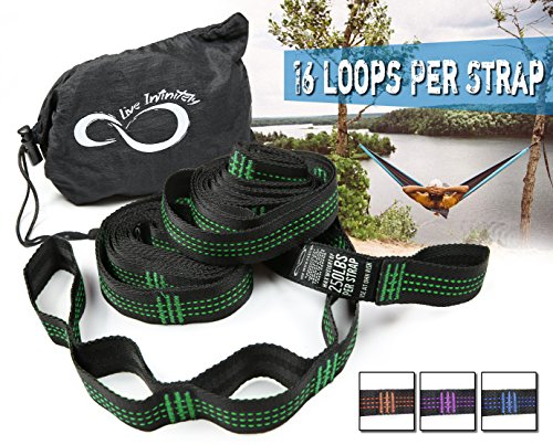 Double Adjust Strap (Hammock Suspension Tree Straps- Easy 16 Loops Straps – Lightweight Stretch Resistant Poly Webbed Strap With Triple & Carrying Bag - 500 Total Pounds- Universal Use For ENO, Grand Trunk (Green))
