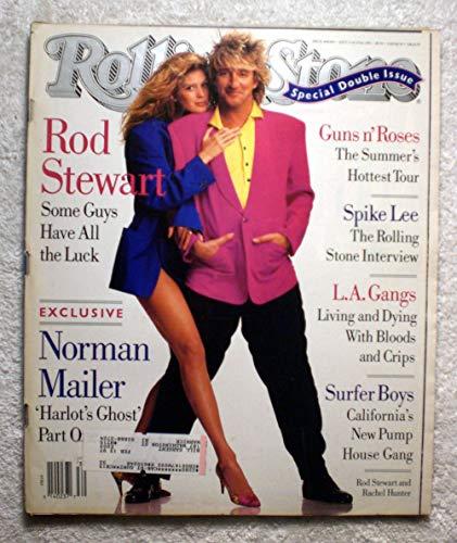 Rod Stewart & Rachel Hunter - Rolling Stone Magazine - #608-609 - July 11-25, 1991 - Norman Mailer: Harlot's Ghost Part 1, Spike Lee Interview, LA Gangs: Bloods & Crips, Surfer Boys articles