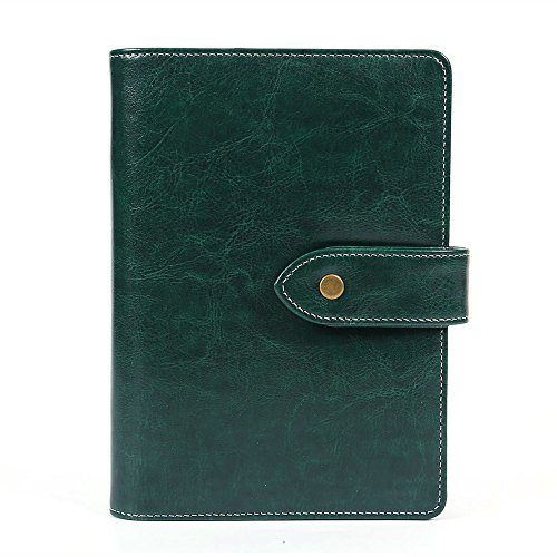 Binder Steno - Leather Writing Notebook Organizer, Travel Journal, Vintage Business Binder Refillable Steno Memo Notepad Planner Diary, 7 in, Lined Paper, Card Slots, Pen Holder, Adjustable Snaps, Retro Green