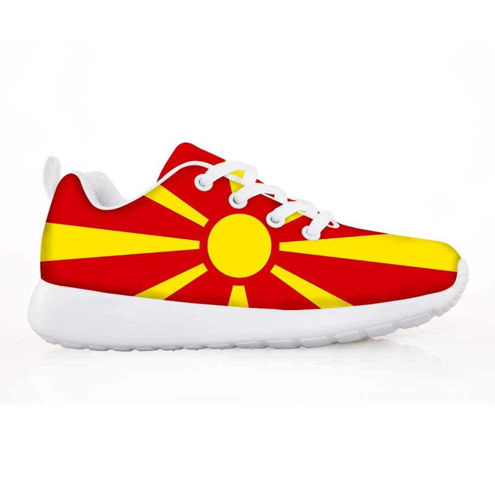 Owaheson Boys Girls Casual Lace-up Sneakers Running Shoes Macedonia Flag