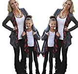 ZAWAPEMIA Mommy and Me Cardigan With Plaid Long Sleeve Open Front Sweater L Gray