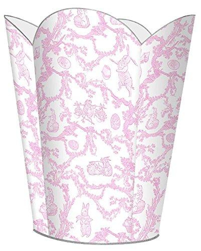 WB1759-Pink Bunny Toile Wastepaper basket