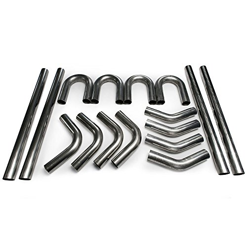 "Nice 3"" Squirrelly Universal 304 Stainless Steel Mandrel Bent DIY Kit 45 180 90 Degree Straight Piping Tube Bend for Intake Exhaust"