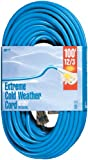 Woods 2439 12/3 Outdoor Cold-Flexible SJTW Extension Cord with Lighted End, 100-Foot, Blue