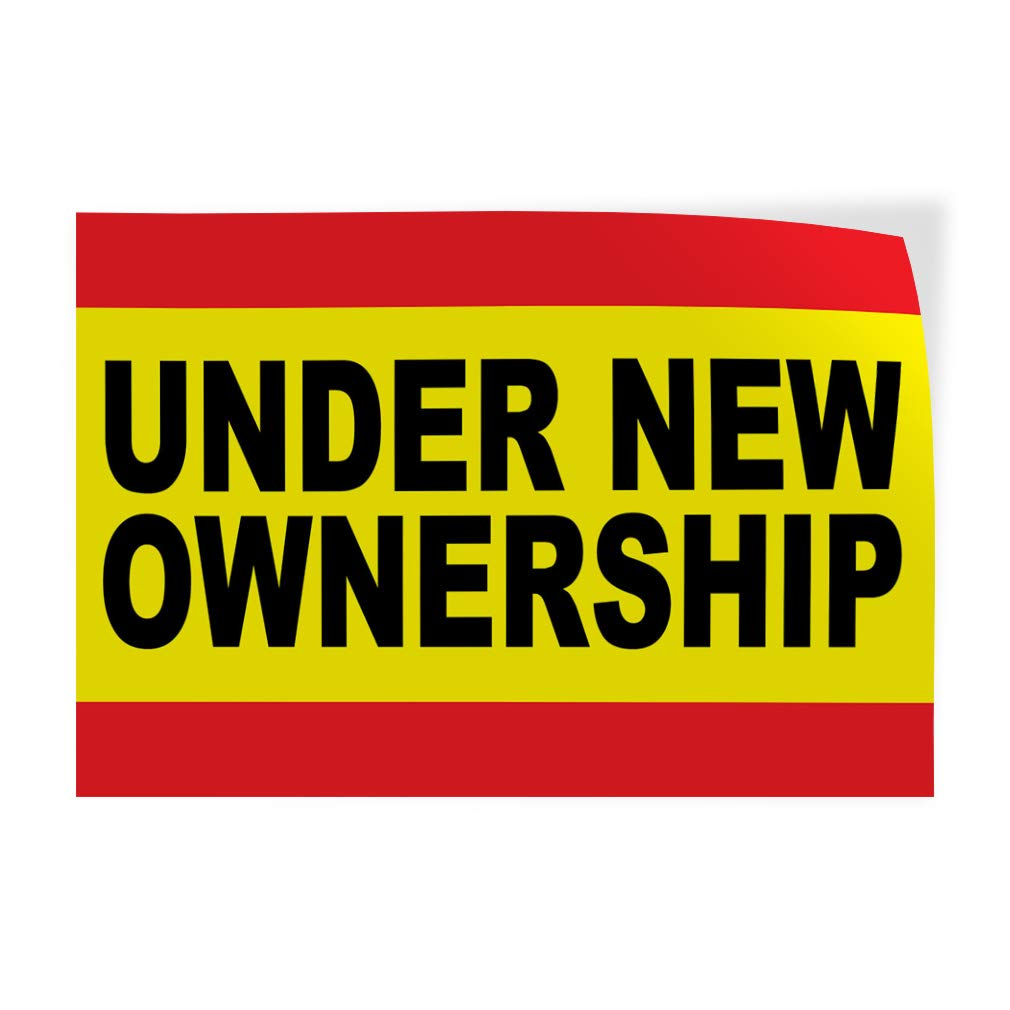 Set of 2 72inx48in Decal Sticker Multiple Sizes Under New Ownership Business Style D Business Under New Ownership Outdoor Store Sign Yellow