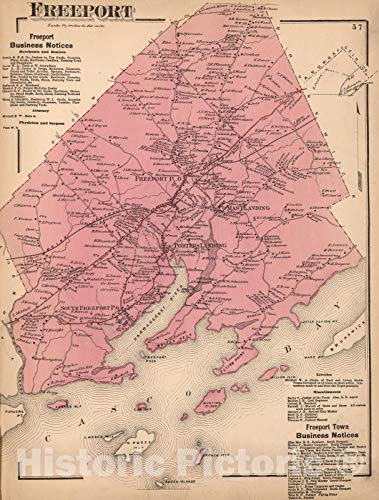 (Historic Map | 1871 Freeport, Cumberland County, Maine. | Vintage Wall Art | 44in x)