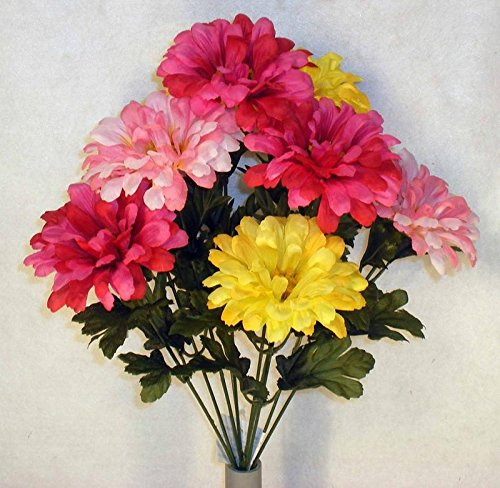 Silk Zinnia (Colorful Mixed Pink and Yellow Poly Silk Zinnia Floral Bush | For Indoor Decor)