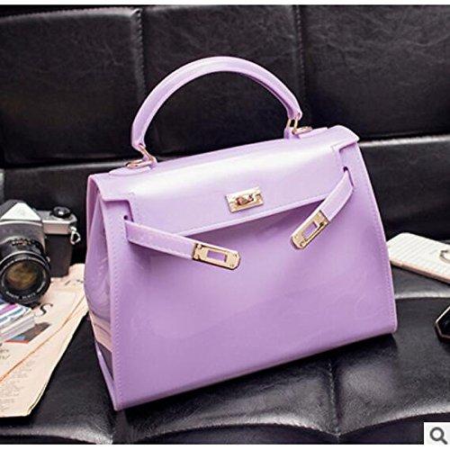 Hombro PVC Cremallera con Claro Gris Bolsos de Claro Rojo GMYAN Morado Bolso Mujer de Gris púrpura Luz Claro de wXq0zx8