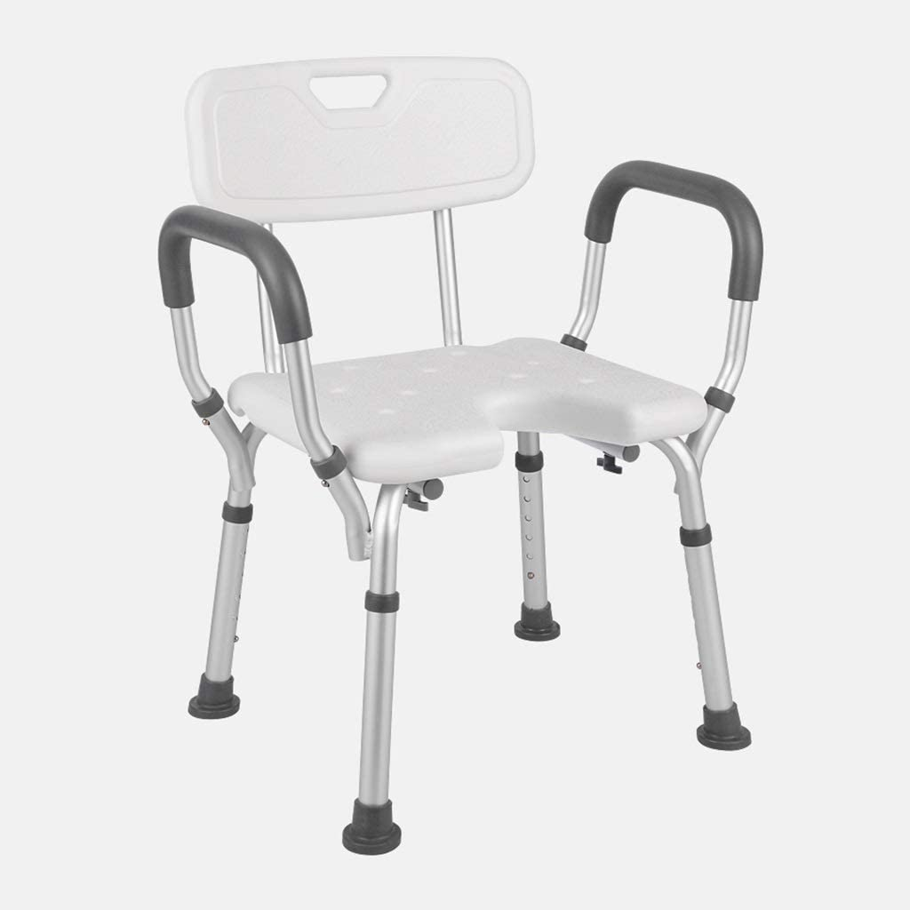Shower Bench Medical Tool Free White Shower Chair with Removable Back and Arms, Adjustable Height Bath Chair Anti-Slip Rubber Tips for Safety and Stability, Assembly spa Bathtub Seat (Size : A) 51lF3ABjX2BLSL1024_