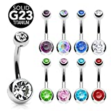 "Grade 23 Solid Titanium Double Ball Gem Belly Button Ring - 14 GA 3/8"" Long (Select Color) (Clear)"