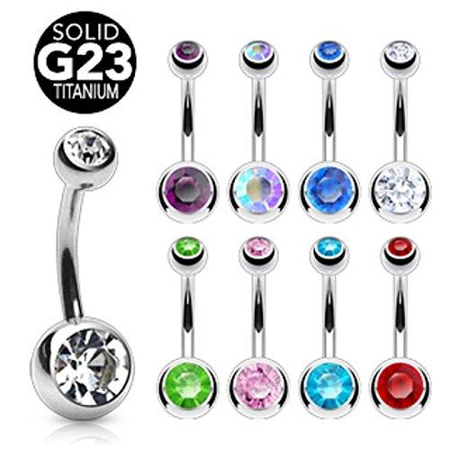 Grade 23 Solid Titanium Double Ball Gem Belly Button Ring - 14 GA 3/8