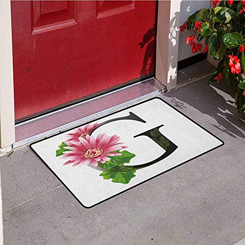 GloriaJohnson Letter G Commercial Grade Entrance mat Alphabet Letter with Blossoming Gerbera Flower and G Spring Inspired Font for entrances garages patios W29.5 x L39.4 Inch Pink Green Black