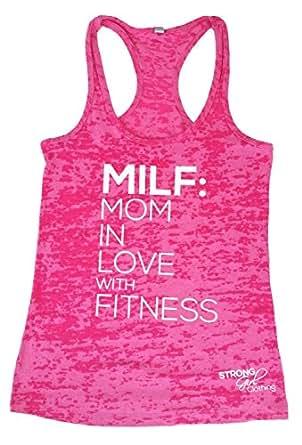 Amazon.com: Strong Girl Clothing Women's MILF Burnout Tank ...