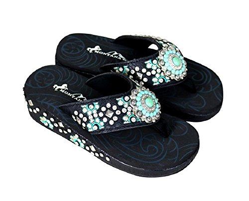 Montana West Embroidered Aztec Hippy Turquoise Concho Western Flip Flops (8, ()