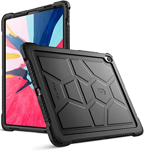 iPad Pro 12.9 inch (3rd Gen) Case, Poetic TurtleSkin Series [Corner Protection][Not Supported Apple Pencil Magnetic Attachment] Protective Silicone Case for Apple iPad Pro 12.9 Inch (2018) - Black