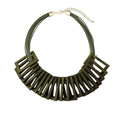 BOCAR Newest Statement Geometric Wood Choker Necklace Vintage Pendant Bib Jewelry (NK-10320-army green) Army Bib