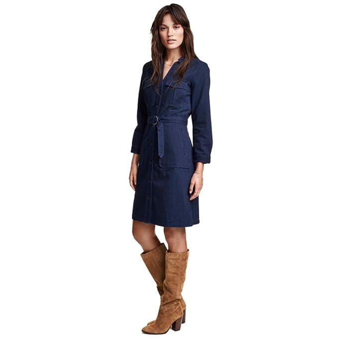 NiSeng Mujeres Elegantes Camisa de Vestir de Manga Larga Trabajo Vestidos Vaqueros con Cinturón Marino L: Amazon.es: Ropa y accesorios