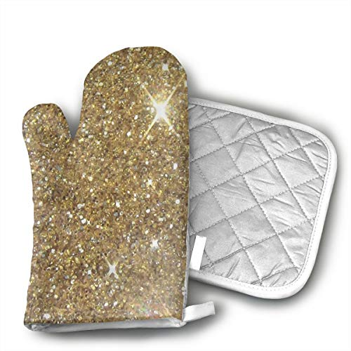 ECEED DAI Luxury Gold Glitter Oven Mitts,with Potholders Oven Gloves,Insulated Quilted Cotton Potholders