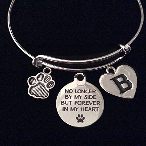 Dog or Cat Pet Memorial Bracelet No longer By My Side But Forever in My Heart Silver Expandable Charm Bracelet Adjustable Bangle Gift Initial Paw Print Memory