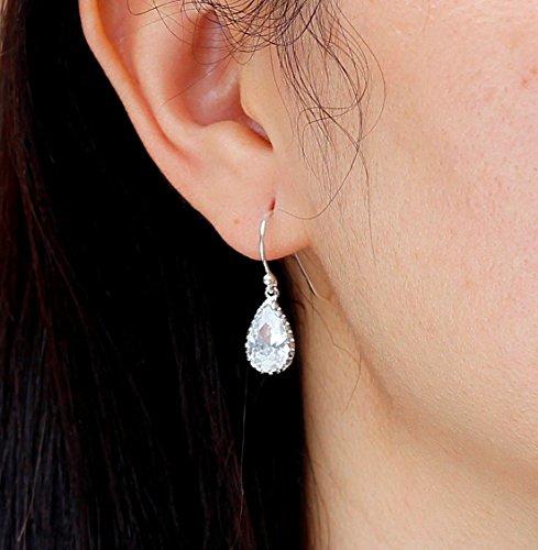 Gold or Silver CZ Teardrop Earrings, CZ Cubic Zirconia Jewelry