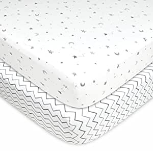 American Baby Company 2 Piece Printed 100% Cotton Jersey Knit Fitted Crib Sheet for Standard Crib and Toddler Mattresses, Grey Stars and Zig Zag