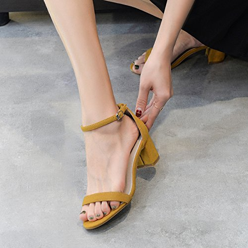 sandali Sandals Female per unita Buckle High donna Shoe Belt Heel Code Shoes shaoge black with Summer Small tinta Shoes s Coarse One Colore Custom Word Made Women' c1F6WcBR