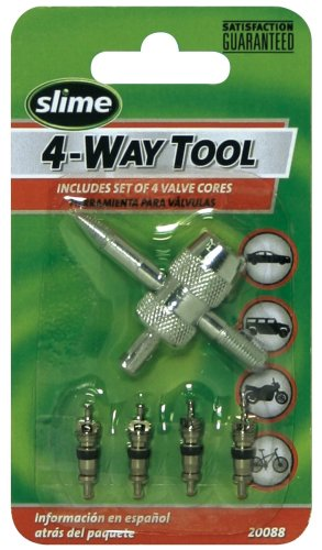Slime 20088 4-Way Valve Tool with 4 Valve Cores - Valve Stem Puller