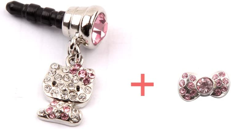 Macsight Crystal Rhinestones Hello Kitty Earphone Jack with Crystal Rhinestones Ribbon Home Button Sticker for iPhone/iPad/iPod/Samsung/HTC/All Device with 3.5mm Jack - Pink