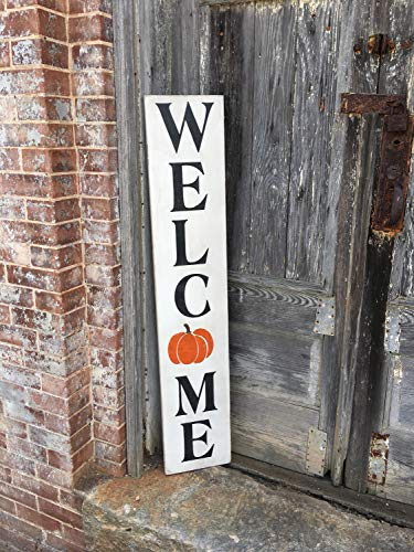 Adonis554Dan Wood Signs Welcome Fall Decor Autumn Decor Thanksgiving Halloween Harvest Farmhouse Style Pumpkin -