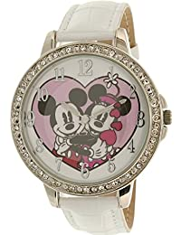 Disney Women's Mickey Mouse MCK767 White Leather Analog Quartz Watch