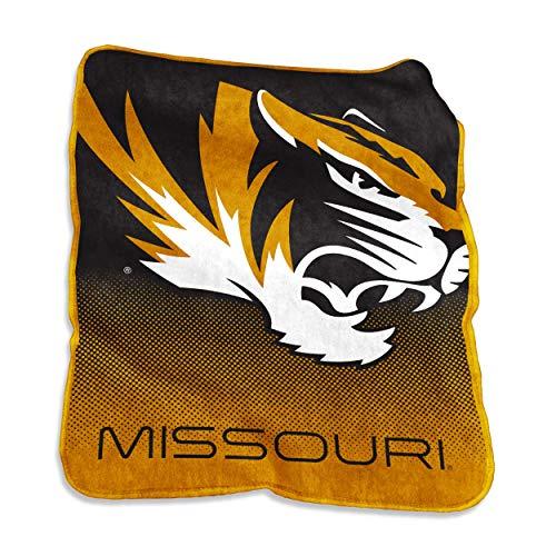 Logo Brands NCAA Missouri Tigers Unisex Raschel Throwraschel Throw, Charcoal, ()
