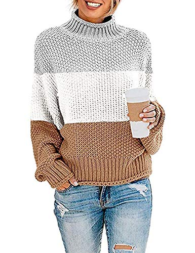 ZESICA Women's Turtleneck Batwing Sleeve Loose Oversized Chunky Knitted Pullover Sweater Jumper Tops