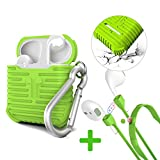 AirPods Case, MeanLove Soft Silicone Shockproof Protective Case Cover and Skin with Anti-lost Strap for Apple Air Pods Accessories(Green)