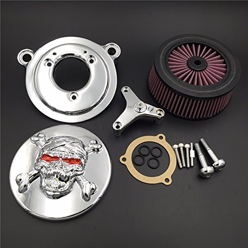 NBX- Chrome Skull Zombie Cross Bones Air Cleaner Intake Filter System Kit For 16-later FXDLS Softail 08-later Touring and Trike Fat Boy CVO Road King Electra Glide Tri ()