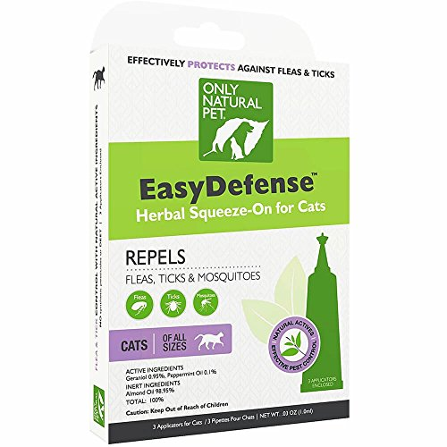 Only Natural Pet Flea and Tick Prevention for Cats - EasyDefense Flea Remedy - Natural Flea Treatment Control Squeeze-On Drops - Three Months Supply from Only Natural Pet