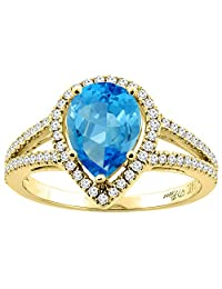 14K Gold Natural Swiss Blue Topaz Ring Pear Shape 9x7 mm Diamond Accents, sizes 5 - 10