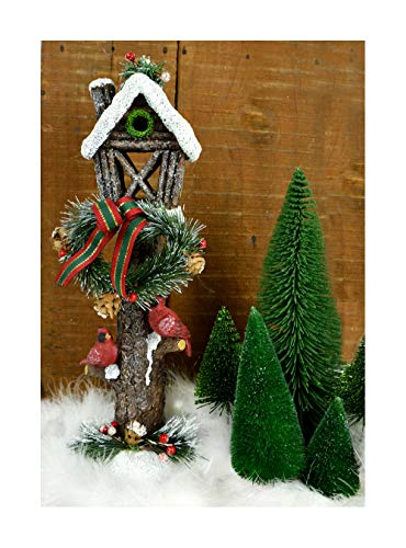 Clever Home Christmas Decorative Light Post with Snow, Wreath, and 2 Cardinals -15 inches Tall