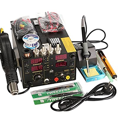 220V 909D+ Rework Soldering Station + Hot Air Gun + DC Power Supply 3 in 1 Multi-function Set with full Accessories