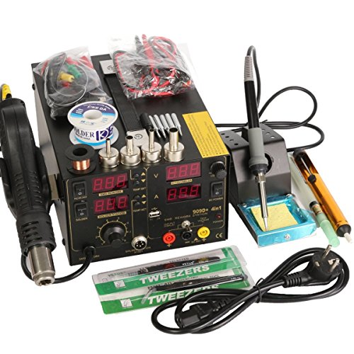 (220V 909D+ Rework Soldering Station + Hot Air Gun + DC Power Supply 3 in 1 Multi-function Set with full Accessories)